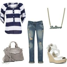 Follow the pic for more #Purple and #whiteshirt, #jeans, #highheel #sandals and #handbag for ladies