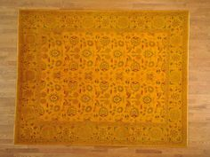 Yellow, one of a kind Oriental rug.
