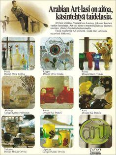 Arabian Art, Good Old Times, Marimekko, Glass Collection, Glass Design, Kiwi, Finland, Scandinavian, Glass Art
