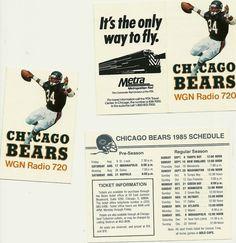 WGN 1985 Chicago Bears foldout pocket schedule WALTER PAYTON Superbowl XX year!