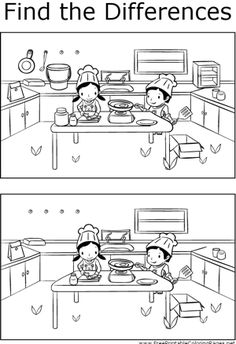 The two scenes of kids cooking in the kitchen depicted in this printable coloring page have several key differences that can be found.
