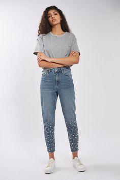 "PETITE 28"" Gem Hem Mom Jeans - Jeans - Clothing - Topshop"
