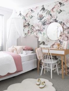 Queen Ann Nursery Baby's Room decor Floral Wallpaper (removable) The cutest floral wallpaper that ad Girls Bedroom, Girl Nursery, Girl Room, Baby Room Decor, Bedroom Decor, Bedroom Fun, Box Bedroom, Magical Bedroom, Bedroom Ideas