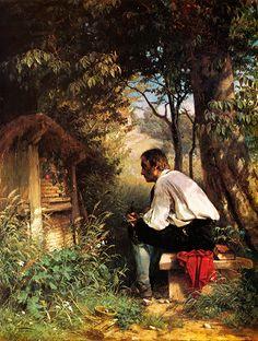 Der Bienenfreund Hans Thoma Imker Bienenstock Natur Ruhe Rast Bütten H A3 0098 | eBay