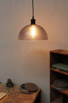 The Hobnail Glass Pendant Light is a thick knobbed glass shade pendant