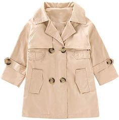 LJYH Girls New Fall Double Breasted Trench Coat Solid Color Mid Long