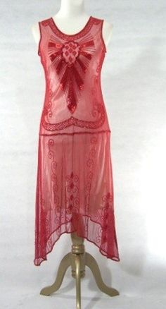 Red sheer, 1920s beaded dress