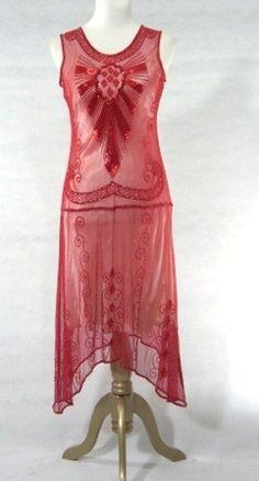 Red sheer, 1920s beaded dress