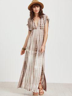 Coffee Tie Dye Print Double V Neck High Waist Dress -SheIn(Sheinside)