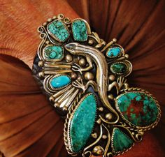 """NATIVE AMERICAN TURQUOISE LEATHER BRACELET 106g Sterling Silver G.CHAVEZ,4"""" wide #GLORIACHAVEZNAVAJO"""
