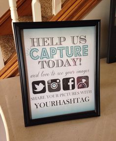 Hashtag Wedding Display - Facebook, Twitter, Instagram, Wedpics - Printable PDF file by SimpleandStunning2 on Etsy https://www.etsy.com/listing/184659829/hashtag-wedding-display-facebook-twitter
