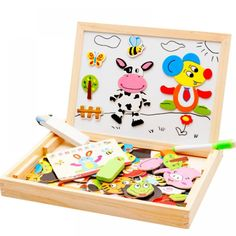 New Wooden Toys Educational Magnetic Toys Puzzle Farm Jungle Animal Kids Jigsaw Baby Blackboard Drawing Board Wooden Puzzle Toy Wooden Drawing Board, Magnetic Drawing Board, Blackboard Drawing, Puzzle Drawing, Baby Drawing, Jigsaw Puzzles For Kids, Wooden Jigsaw Puzzles, 3d Puzzles, Wooden Baby Toys
