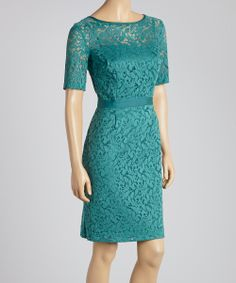 Emerald Lace Scoop Neck Dress - Women | something special every day