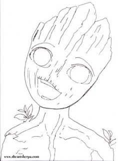 Baby Groot - The Art Sherpa Community Free Coloring Pages, Coloring Books, Acrylic Painting Canvas, Canvas Art, Acrylic Art, Art Sketches, Art Drawings, Coloring Canvas, The Art Sherpa