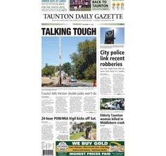 The front page of the Taunton Daily Gazette for Thursday, Sept. 17, 2015.