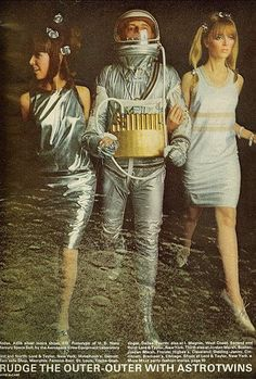 The Fashionable Astrotwins- November 1965 fashion spread from Mademoiselle features a prototype of the Mercury Space Suit - photo by David McCabe Space Girl, Space Age, Art Pulp, Mademoiselle Magazine, Space Fashion, Launch Pad, Mode Plus, Retro Futuristic, To Infinity And Beyond