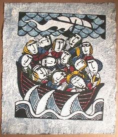 Sadao Watanabe (1913 - 1996)Sadao Watanabe ( 渡辺 禎雄 ) Sadao Watanabe (渡辺 禎雄 1913 – 1996), born and grew up in Tokyo, was a Japanese printmaker in the 20th Century. Watanabe was famous for his biblical prints rendered in the mingei (folk art) tradition of Japan. As a student of the master textile dye artist Serizawa Keisuke (1895–1984), Watanabe was associated with the mingei (folk art) movement.