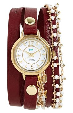 Free shipping and returns on La Mer Collections Beaded Chain & Leather Wrap Watch, 19mm at Nordstrom.com. Hand-assembled in the United States, a 14-karat gold plated watch face is mounted on a burgundy leather wrap bracelet. Glossy beads adorn a densely linked chain to make the piece look like a curated collection of layered bracelets for nearly effortless styling.