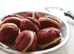 Red Velvet Cookie Sandwich's with Brown Butter Cream Cheese Frosting