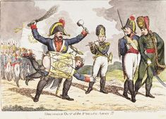 June 1814.Bodleian Libraries, Drumming out of the French army (cropped).Satire on Napoleon's exile to Elba. (British political cartoon)