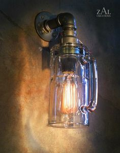 Sconce, Wall Light, Beer mug, Lamp with vintage style Edison bulb. Pipe Lighting, Wall Sconce Lighting, Wall Sconces, Edison Lampe, Edison Bulbs, Industrial Wall Lights, Glass Wall Lights, Glass Beer Mugs, Vintage Picture Frames