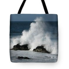 A breaking wave forms a triangular shape as it hits a pair of rocks on the shore of Pacific Grove, California. Image by James B. Toy. Tote bag by Pixels.com