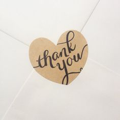 60 Kraft 'Thank You' Heart Sticker/Envelope Seal Your Heart, Seal, Envelope, Place Card Holders, Stickers, Unique Jewelry, Handmade Gifts, Illustration, Etsy