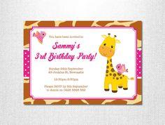 Giraffe Birthday Invitations ~ Giraffe Birthday Party ~ Giraffe Print ~ Little Bird ~ Girl Birthday Invitation ~ Hot Pink ~ Polka Dot