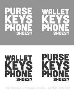 Daily Leaving The House Reminder Print: Purse, Keys, Phone, Shoes