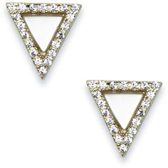 Sole Society Crystal Triangle Stud ($20) ❤ liked on Polyvore featuring jewelry, earrings, gold, triangle jewelry, crystal earrings, studded jewelry, stud earring set and triangular earrings