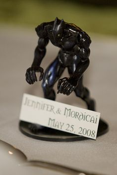 These Dungeons and Dragons mini figurines doubled as wedding favors and place cards at Jennifer and Mordicai's wedding.