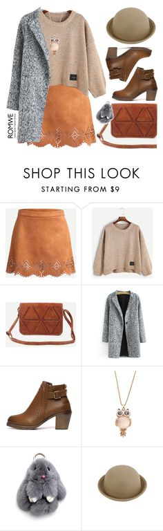 """Romwe - camel bag"" by wannanna ❤ liked on Polyvore"