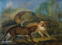 The Three Leopards by Jean-Baptiste Oudry - Oil Painting Reproduction - BrushWiz.com