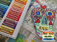 Day-of-the-Dead-Recycled-Cardboard-Skull-Oil-Pastel-Art-Project-Craft-Sugar-Skull