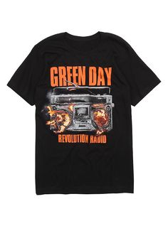 Green Day Revolution Radio Boom Box T-Shirt, BLACK