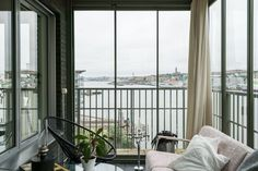 An Elegant Swedish Apartment Surrounded by Sea – The Design Stash Balcony, Windows, Curtains, Sea, Elegant, Design, Home Decor, Classy, Blinds