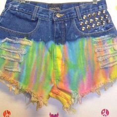 Vintage High Waisted TIE  Dyed  Denim Shorts - Studded Waist 30 inches