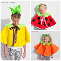 one cape pattern - lots of ideas including the fruit here. . . Fruit Capes Collage