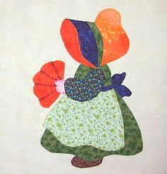 Eveline and 1001 Quilts: - Some really beautiful Sun Bonnet Sue images on this page. (Translated from German) Barn Quilt Patterns, Applique Patterns, Applique Quilts, Applique Designs, Sunbonnet Sue, Hand Applique, Machine Applique, Machine Embroidery, Embroidery Stitches