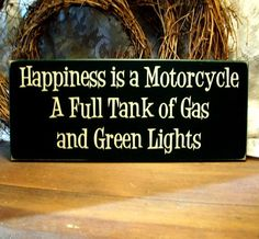 Motorcycle Wood Sign Happiness is Painted by CountryWorkshop, $15.95