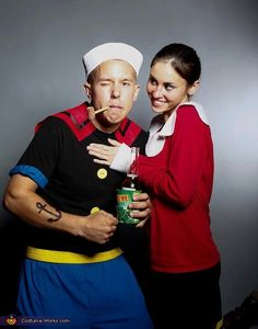 Popeye and Olive Oyl. For the couple so in love, they're seeing stars. Needed: Red sweater, white blouse, black skirt, blue pants, black shirt, yellow belt, white navy hat, pipe and don't forget the anchor tattoo! #halloween #couplescostumes