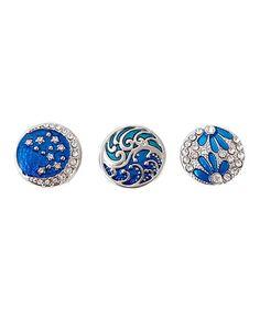 Turquoise Rhinestone & Silvertone Interchangeable Snap Charm Set #zulily #zulilyfinds
