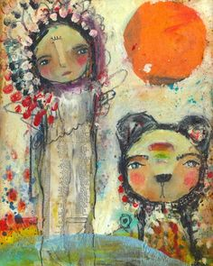 Whimsical Owls and Other Mixed Media Art From the Heart by Juliette Crane: A NEW Painting - STAR RISING