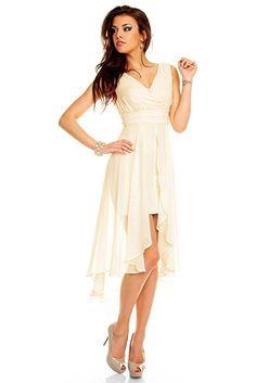 Vokuhila Abendkleid, Brautkleid, Cocktailkleid, Kleid aus Chiffon in creme, 38