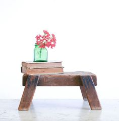 Vintage Primitive Wooden Foot Stool / Rustic Decor by RobertaGrove, $23.00  (Etsy)