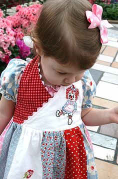 Raggedy Ann ... hand embroidered DRESS ... TaDa Creations. $95.00, via Etsy.