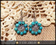 Turquoise Radiant Star Earrings  Baha'i 9 Star Wire wrapped Dangle Earrings by 9StarJewelry #bahai #bahaijewelry #9starjewelry #wirewrappedstar #wirewrappedjewelry #9pointedstar #turquoise