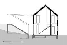 WERK - g.a group of young architects Modern Floor Plans, Steel House, Steel Buildings, Architecture Portfolio, Architectural Digest, Modern Contemporary, Modern Farmhouse, Stairs, House Design