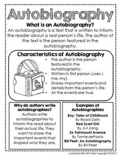 Genre Mini Anchor Charts - Autobiography Genre Anchor Chart Working with Chart and also Topographical Charts Reading Genre Posters, Reading Genres, Reading Lessons, Writing Lessons, Teaching Writing, Writing Skills, Writing Ideas, Kindergarten Writing, Writing Process