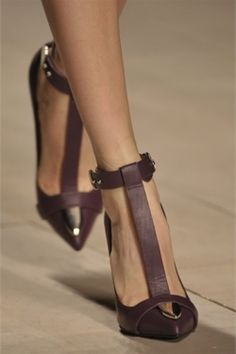 Buckled beauties in deep purple! Create illusion of elongated legs, too.